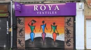 Beautiful piece of street art in dedication to the African textile shops on Petticoat Lane